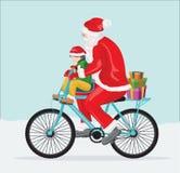 Vectorkunst van Kerstmis de Kerstman voor groetkaart Stock Foto