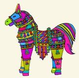 Vectorkunst van kleurrijk paard Stock Foto
