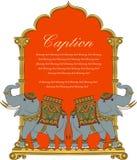 Vectorkunst van koninklijke olifant in Indische kunststijl Stock Afbeelding