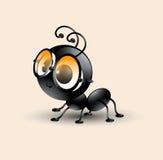 Vectorkunst van leuk mierenbeeldverhaal met zon-glas Stock Fotografie