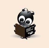 Vectorkunst van leuk zwart de lezingsboek van het mierenbeeldverhaal Stock Afbeelding
