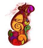 vectorkunst van Lord Ganesha in schets Stock Foto's