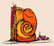 vectorkunst van Lord Ganesha in schets Royalty-vrije Stock Fotografie
