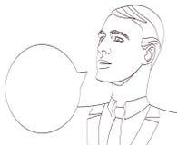 Vectorkunst van zakenman met toespraakbel Lineart geïsoleerde eps 10 Stock Afbeelding