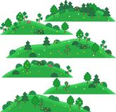 Vectorkunst voor spelen Heuvels met bomen en struiken Royalty-vrije Stock Foto's