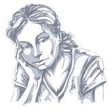Vectorkunsttekening, portret van droevig en gedeprimeerd meisje, het denken royalty-vrije illustratie