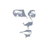 Vectorkunsttekening, portret van schitterend dromerig geïsoleerd meisje stock illustratie