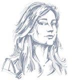 Vectorkunsttekening, portret van schitterend dromerig geïsoleerd meisje royalty-vrije illustratie