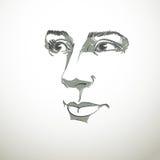 Vectorkunsttekening, portret van schitterend dromerig meisje  royalty-vrije illustratie