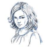 Vectorkunsttekening, portret van schitterend romantisch geïsoleerd meisje Stock Foto