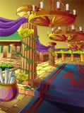 Vectorkunstwerk van een zaal in een kasteel in beeldverhaalstijl stock illustratie