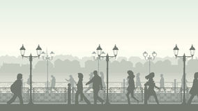 Vectorl illustration of downtown street with people. Horizontal illustration of walking people along quay street with fence and streetlights Stock Photo