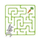 Vectorlabyrint, Labyrint met Konijn en Wortel Royalty-vrije Stock Foto's