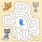 Vectorlabyrintspel: de grappige blauwe vogel vindt de manier van de kattenval Stock Foto