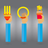 Vectorlamp gedachte Heldere vonkenarm en hand Stock Afbeelding