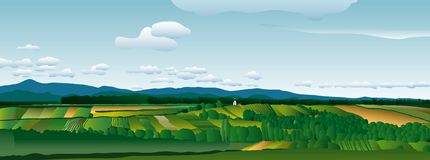 Vectorland. Realistic vector illustration of the country landscape Stock Photography