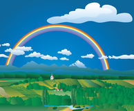 Vectorland rainbow. Landscape with rainbow, layered and fully editable royalty free illustration