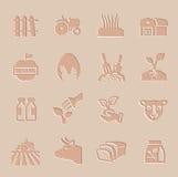 Vectorlandbouw en de landbouw geplaatste pictogrammen Stock Foto