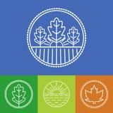 Vectorlandbouw en de organische emblemen van de landbouwbedrijflijn Stock Foto