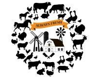 Vectorlandbouwbedrijf en de landbouwpictogrammen en ontwerpelementen De inzameling van landbouwbedrijfdieren vector illustratie