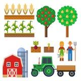 Vectorlandbouwbedrijf het oogsten materiaal voor landbouw en tuinbouw die natuurlijke vruchten en handhulpmiddelen bewerken stock illustratie
