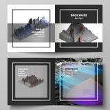 Vectorlay-out van twee dekkingsmalplaatjes voor vierkante ontwerp bifold brochure, tijdschrift, vlieger, boekje Grote Gegevens dy stock illustratie