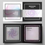 Vectorlay-out van twee dekkingsmalplaatjes voor vierkante ontwerp bifold brochure, tijdschrift, vlieger, boekje Willekeurige chao royalty-vrije illustratie