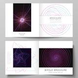 Vectorlay-out van twee dekkingsmalplaatjes voor vierkante ontwerp bifold brochure, tijdschrift, vlieger, boekje Willekeurige chao stock illustratie