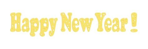 Vectorlettertype van kaas Tekst: Gelukkig Nieuwjaar! Thema's van het nieuwe jaar van 2020 Specifiek aan het rattenjaar vector illustratie