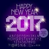 Vectorlicht op de groetkaart van het disco Gelukkige Nieuwjaar 2017 vector illustratie