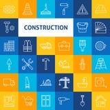 Vectorlijn Art Construction Icons Set Royalty-vrije Stock Fotografie