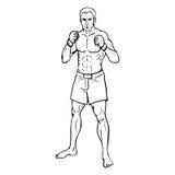Vectorlijn Art Illustration - Spiermma-Vechter stock illustratie