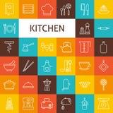 Vectorlijn Art Kitchenware en Kokende Geplaatste Werktuigenpictogrammen Stock Foto's