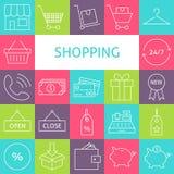 Vectorlijn Art Modern Shopping en Kleinhandels Geplaatste Pictogrammen royalty-vrije illustratie