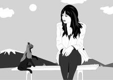 Vectorlijnen Het meisje beledigde zitting op een bank en naast de kat geeft haar advies Vectorillustratie van een meisje en een k stock illustratie