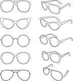 Vectorlijnillustratie van zonnebrilkaders royalty-vrije illustratie