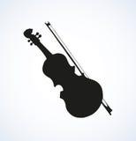 Vectorlijntekening van een viool en een boog Stock Foto's