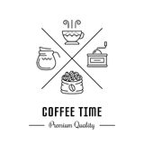 Vectorlogo coffee time Stock Afbeeldingen