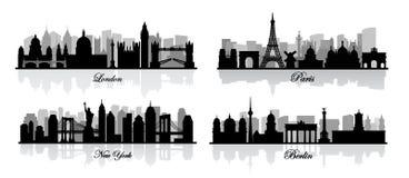Vectorlonden, New York, Berlijn en Parijs Royalty-vrije Stock Afbeeldingen