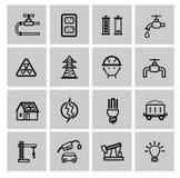 Vectormacht en energiepictogrammen royalty-vrije illustratie