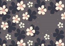 Vectormalplaatje met bloemenpatroon met de roze bloemen van de kersenbloesem op marineblauw Achtergrond Stock Foto's