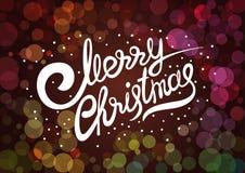 Vectormalplaatje met het van letters voorzien Vrolijke Kerstmis Abstract onduidelijk beeld en bokeh kleurrijke achtergrond Stock Foto's