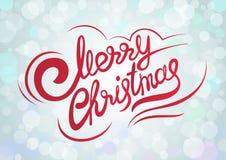 Vectormalplaatje met het van letters voorzien Vrolijke Kerstmis Abstract onduidelijk beeld en bokeh kleurrijke achtergrond Royalty-vrije Stock Foto's