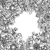 Vectormalplaatje met mooi zwart-wit bloemenpatroon in dood Stock Foto
