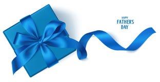 Vectormalplaatje met mooie decoratieve giftdoos, blauwe boog en lang lint De gelukkige achtergrond van de Vader` s Dag Royalty-vrije Stock Afbeelding