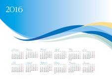 Vectormalplaatje van de kalender van 2016 op blauwe achtergrond Stock Foto