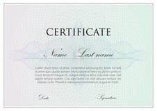Vectormalplaatjeontwerp van certificaat met guilloche tekens Stock Afbeelding