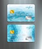 Vectormalplaatjescreditcards met blauw abstract patroon stock illustratie