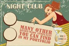 Vectormalplaatjevlieger die een nachtclub, shows, partijen adverteren stock illustratie