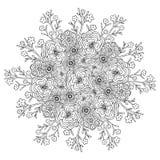 Vectormandala met bloemenpatroon Volwassen kleurende boekpagina Bloemenontwerp voor decoratie Royalty-vrije Stock Foto
